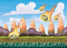 Cartoon vector landscape with meteor background with separated layers for game art and animation game design asset. In 2d graphic Stock Photography