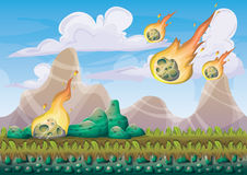 Cartoon vector landscape with meteor background with separated layers for game art and animation game design asset. In 2d graphic Stock Image
