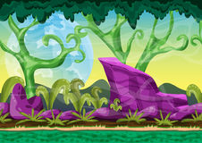 Cartoon vector landscape with separated layers for game and animation. Game design asset Royalty Free Stock Image