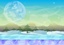 Cartoon vector landscape with separated layers. For game and animation, game design asset Stock Images