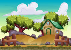 Cartoon vector landscape with separated layers Stock Photos