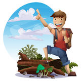Cartoon vector landscape on the theme of adventures and outdoor recreation Stock Photos