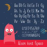 English ABC letters, numbers and symbols vector. Cartoon vector latin ABC with funny alien character showing space stylized font uppercase, lowercase letters stock illustration