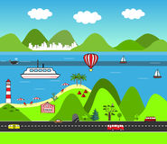 Cartoon vector map. Flat Design Nature Scene. Sea Landscape with mountains, beach, and road. Stock Photos
