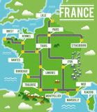 Cartoon vector map of France. Travel illustration with french main cities. Vector illustration Stock Image