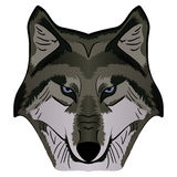 Cartoon Vector Mascot Image Grey Wolf Head. Isolated on white background Stock Photo