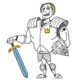 Cartoon Vector Medieval Fantasy Hero Knight Prince. Cartoon vector old fantasy medieval royal Prince Charming knight hero with armor, sword, shield and smile Stock Photo
