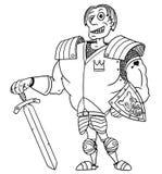 Cartoon Vector Medieval Fantasy Hero Knight Prince. Cartoon vector old fantasy medieval royal Prince Charming knight hero with armor, sword, shield and smile Stock Image