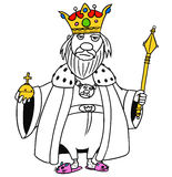 Cartoon Vector Medieval Fantasy King. Cartoon vector old fantasy medieval king monarch sovereign with crown apple and scepter Stock Photography