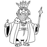 Cartoon Vector Medieval Fantasy King. Cartoon vector old fantasy medieval king monarch sovereign with crown apple and scepter Royalty Free Stock Photography