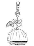 Cartoon Vector Medieval Fantasy Queen. Cartoon vector fantasy medieval queen monarch female sovereign with crown, fan and handbag Stock Photo