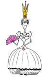 Cartoon Vector Medieval Fantasy Queen. Cartoon vector fantasy medieval queen monarch female sovereign with crown, fan and handbag Stock Photography
