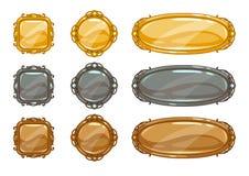 Cartoon vector metallic buttons set Stock Image