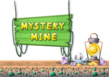 Cartoon vector mine game object with separated layers for game and animation Stock Image