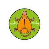 Cartoon vector monkey. marmoset top view. Inscribed in a circle as an emblem green background. Cartoon vector monkey. marmoset top view. Inscribed in a circle Stock Photo