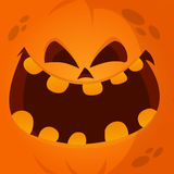 Cartoon vector monster pumpkin face. Cute square avatar and icon. Royalty Free Stock Images
