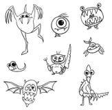 Cartoon Vector Monsters Set04. Set04 of cartoon vector doodle monsters Stock Photos