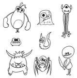 Cartoon Vector Monsters Set01. Set01 of cartoon vector doodle monsters Royalty Free Stock Images