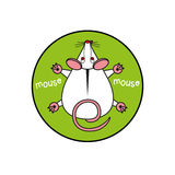 Cartoon vector mouse. mousy top view. Inscribed in a circle as an emblem green background. Stock Image