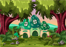Cartoon vector mushroom house with separated layers