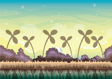 Cartoon vector nature landscape background with separated layers for game art and animation game design asset. In 2d graphic Royalty Free Stock Image
