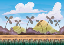 Cartoon vector nature landscape background with separated layers for game art and animation game design asset. In 2d graphic Royalty Free Stock Photos