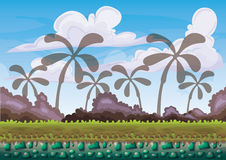 Cartoon vector nature landscape background with separated layers for game art and animation game design asset. In 2d graphic Stock Photo