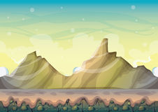 Cartoon vector nature landscape background with separated layers for game art and animation game design asset Royalty Free Stock Photos