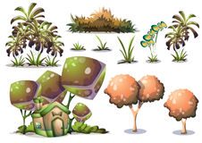 Cartoon vector nature landscape object with separated layers for game art and animation game design asset. In 2d graphic Royalty Free Stock Photo