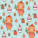 Cartoon vector new year texture. Royalty Free Stock Photos