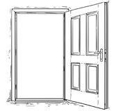 Cartoon Vector of Open Wooden Door. Vector cartoon of open elegant wooden door Royalty Free Stock Image
