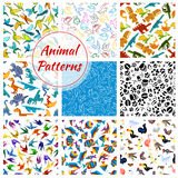 Cartoon vector pattern of dinosaurs, fishes, birds Stock Photography