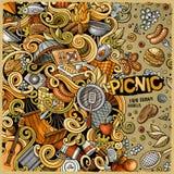 Cartoon vector picnic doodle illustration Stock Photography