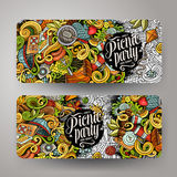 Cartoon vector picnic doodle vertical banners. Cartoon colorful vector hand drawn doodles picnic theme corporate identity. 2 Horizontal banners design. Templates Stock Image