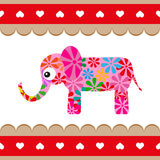 Cartoon vector pink elephant. Stock Photos