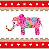 Cartoon vector pink elephant. Stock Photos