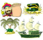 Cartoon vector pirate object for game and animation Stock Image