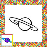 Cartoon vector planet. Coloring book Stock Photography