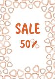 Cartoon vector poster with donuts with word SALE vector illustration