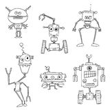 Cartoon Vector Robot Set01. Set01 of cartoon vector doodle robots Stock Image