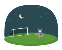 Cartoon vector of robot on a soccer field under night sky with moon and stars. Cartoon vector illustration of robot on a soccer field with goal under night sky Royalty Free Stock Photography