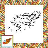 Cartoon Vector Rocket. Dot To Dot Stock Image