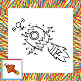 Cartoon vector rocket dot to dot Stock Photo