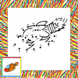 Cartoon vector rocket. Dot to dot Stock Image