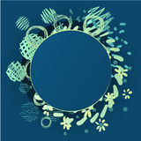 Cartoon vector round frame with place for tex. T. Pencil effect shapes Royalty Free Stock Photography