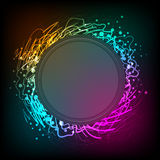 Cartoon vector round frame with place for text. Pencil shapes with glow effect Royalty Free Stock Photo