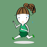Cartoon vector of running girl Stock Images