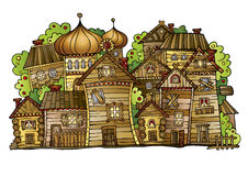 Cartoon vector Russian old wooden village Royalty Free Stock Image