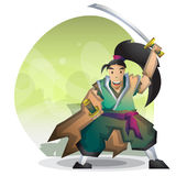 Cartoon vector samurai with separated layers for game and animation Royalty Free Stock Photography