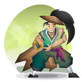 Cartoon vector samurai with separated layers for game and animation Royalty Free Stock Images